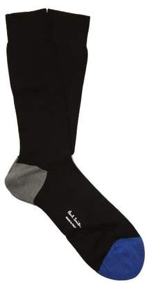 Paul Smith Colour Block Ribbed Cotton Blend Socks - Mens - Black
