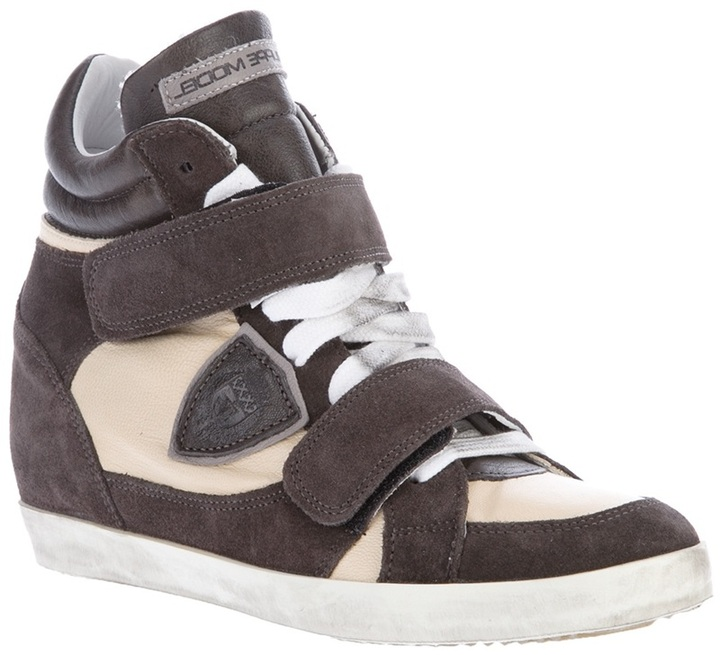 Philippe Model suede and leather hi top trainer