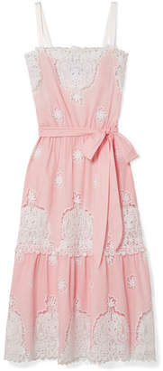 Miguelina Esme Crocheted Cotton-voile Midi Dress - Baby pink