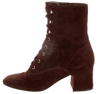 Gianvito Rossi Round-Toe Lace-Up Ankle Boots Brown Round-Toe Lace-Up Ankle Boots
