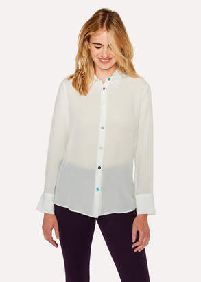 Paul Smith Women's Cream Silk Shirt With Multi-Coloured Button Placket