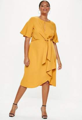 Missguided Plus Size Yellow Knot Front Midi Dress