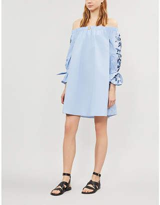 Ted Baker Off-the-shoulder embroidered cotton Bardot dress