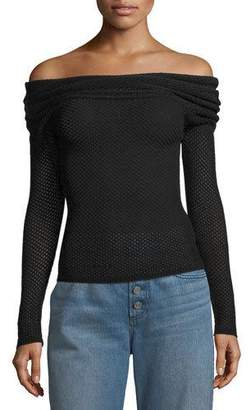 A.L.C. Allegra Off-the-Shoulder Long-Sleeve Mesh-Knit Sweater
