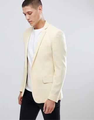 Asos Design DESIGN Super Skinny Texture Blazer In Lemon Wool Mix