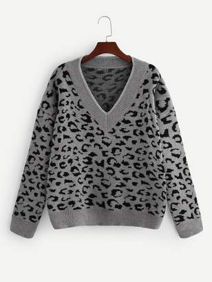 85ef210f1133 Leopard Print Grey Sweater - ShopStyle