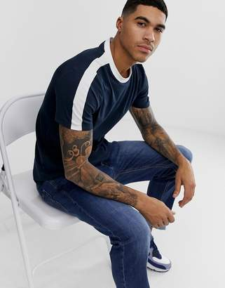 New Look ringer t-shirt with sleeve stripe in navy