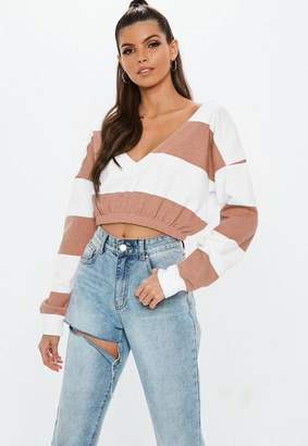 Missguided Pink Striped V Front Sweatshirt