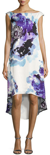 Trina Turk Kindered Cap-Sleeve Peony-Print Hi-Low Dress