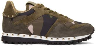 Valentino Green Garavani Camo Sole Stud Sneaker