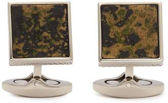 Tateossian Camouflage leather cufflinks