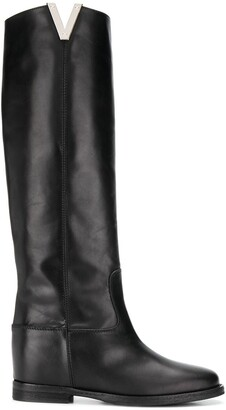 Via Roma 15 flat knee length boots