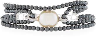 Majorica Four-Row Beaded Baroque Bracelet