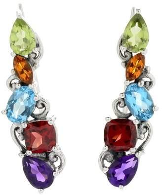 Samuel B Jewelry Sterling Silver Multi-Stone Crawler Earrings