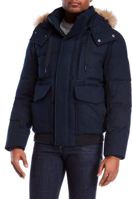 Andrew Marc Ink Bohlen Real Fur Trim Hooded Down Coat