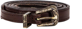 Saint Laurent Thin Western Leather Belt in Nut | FWRD