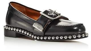 Chloé Women's Sawyer Almond Toe Studded Leather Loafers