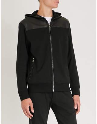 Michael Kors Leather-panel stretch-cotton hoody