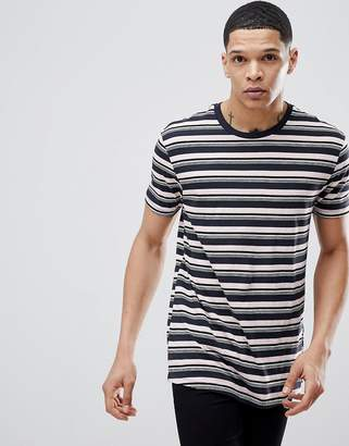 Bershka T-Shirt With Stripes In Navy And Pink