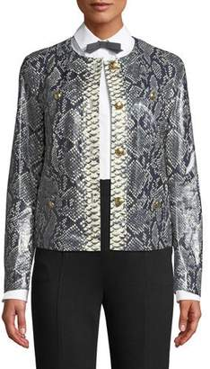 Escada Button-Front Snake-Print Lamb Leather Short Jacket w/ Golden Buttons