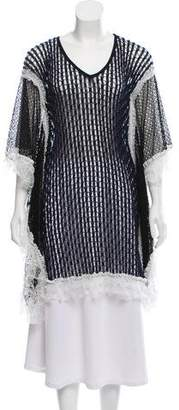 Jonathan Simkhai Lace Trimmed Open Knit Top w/ Tags