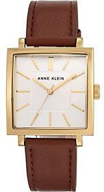 Anne KleinAnne Klein Women's Goldtone Brown Leather StrapWatch