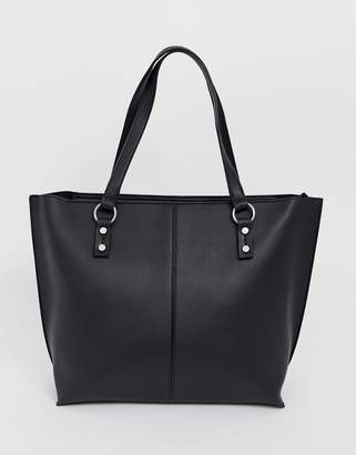 Stradivarius shopper with silver stud details in black