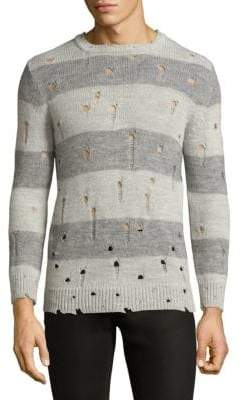 IRO Long-Sleeve Perforated Stripe Sweater