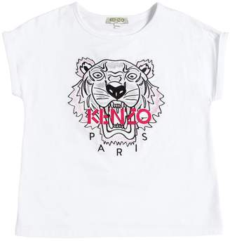 Kenzo Tiger Embroidered Cotton Jersey T-Shirt