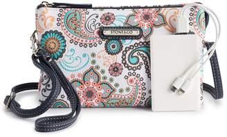 Stone & Company Paisley Crossbody Phone-Charging Wallet