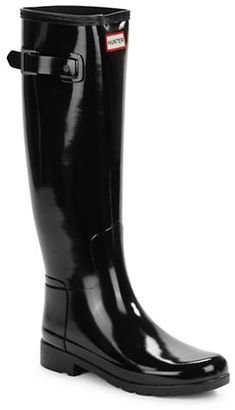 Hunter Original Refined Tall Gloss Rain Boots $165 thestylecure.com