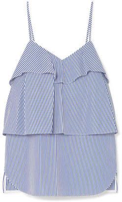 Goen J - Ruffled Striped Cotton-poplin Camisole - Blue