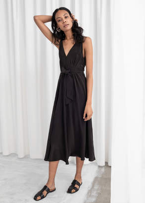 And other stories Belted Silk Midi Dress
