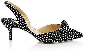 Paul Andrew Women's Rhea Polka Dot Kitten Heel Slingbacks
