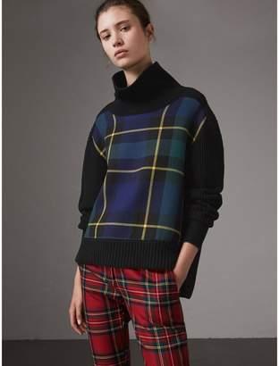 Burberry Tartan Panel Wool Cashmere Roll-neck Sweater