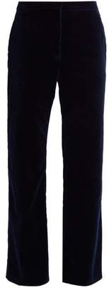 Altuzarra Nettle Kick Flare Velvet Cropped Trousers - Womens - Navy