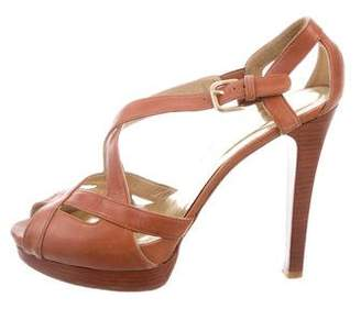Stuart Weitzman Leather Crossover Sandals