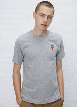 Comme des Garcons PLAY grey long heart t-shirt $99 thestylecure.com