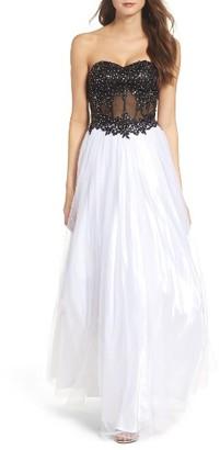 Women's Blondie Nites Strapless Bustier Gown $259 thestylecure.com
