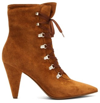 Gianvito Rossi Lace Up Cone Heel Suede Ankle Boots - Womens - Tan
