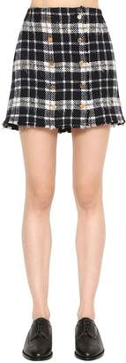 Thom Browne Frayed Plaid Tweed Mini Skirt