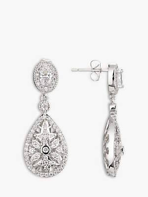 At John Lewis And Partners Co Ivory Stellar Detailed Cubic Zirconia Pave Teardrop Drop Earrings Silver
