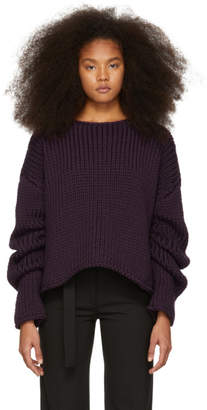 Yang Li Purple Hand-Knitted Oversized Sweater