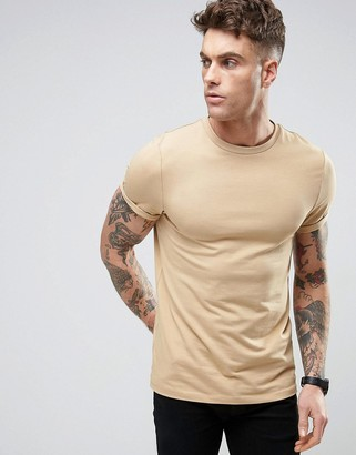 ASOS Muscle T-Shirt In Beige With Roll Sleeve $9.50 thestylecure.com