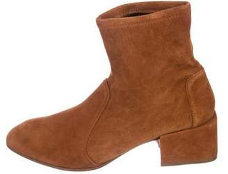 Stuart Weitzman Round-Toe Suede Ankle Boots