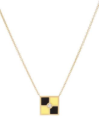 K Kane Code Flag Square Diamond Pendant Necklace - L