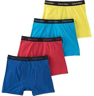 Calvin Klein Cotton Stretch Boys' Boxer Briefs (4 Pack) (, Blue-SkyBlue-Green) XL