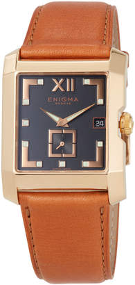 Bulgari Enigma By Gianni 18k Square Date Watch w/ Leather Strap, Tan