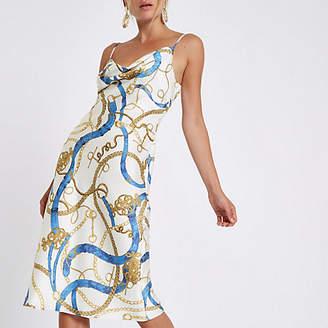 River Island White chain print cowl neck slip dress