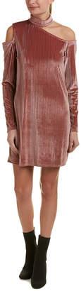 Peach Love Ca Asymmetrical Velvet Shift Dress